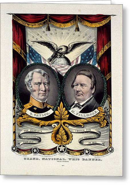 Grand National Whig Banner Press Onward  Lith. & Pub. By N Greeting Card by Litz Collection