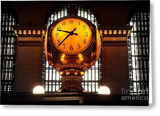 Grand Old Clock At Grand Central Station - Front Greeting Card