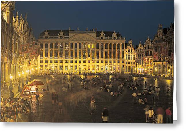 Grand Place Brussels Belgium Greeting Card by Panoramic Images