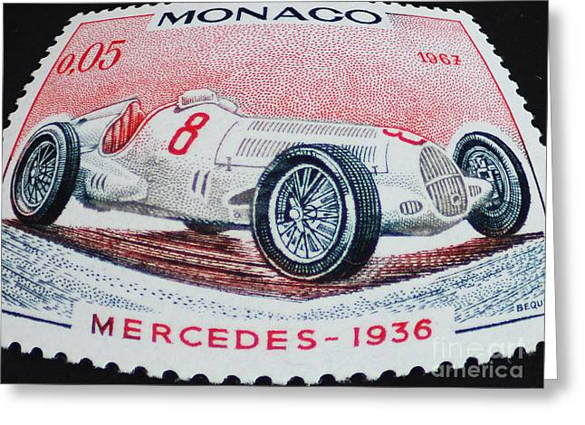 Grand Prix De Monaco 1936 Vintage Postage Stamp Print Greeting Card