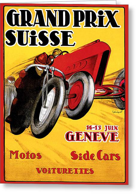 Grand Prix Suisse Geneve Greeting Card by Vintage Automobile Ads and Posters