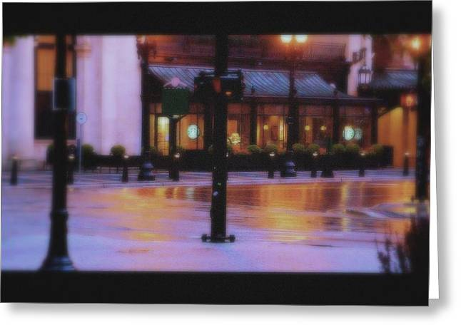 Grand Rapids Antique Architecture Of Starbucks Cafe  Greeting Card by Rosemarie E Seppala