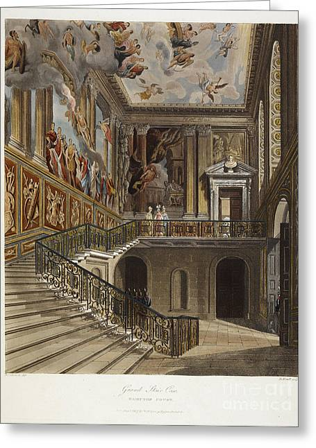 Grand Stair Case, Hampton Court Greeting Card by British Library