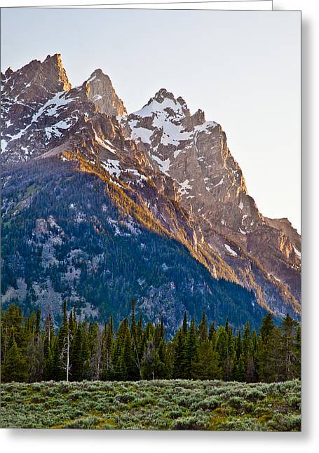 Grand Teton From Jenny Lake Greeting Card by Adam Pender