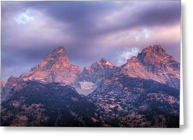 Greeting Card featuring the photograph Grand Teton In Morning Clouds by Alan Vance Ley