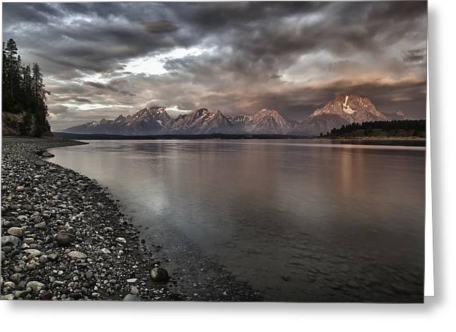Grand Teton Mountain Range In  Grey And Pink Morning Sunlight Greeting Card