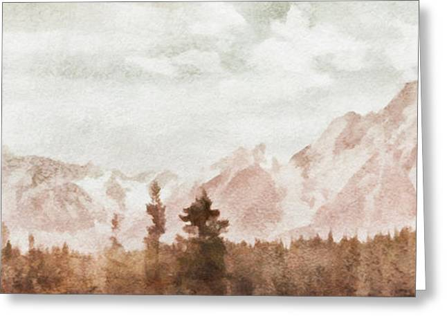 Greeting Card featuring the painting Grand Teton Mountains by Greg Collins