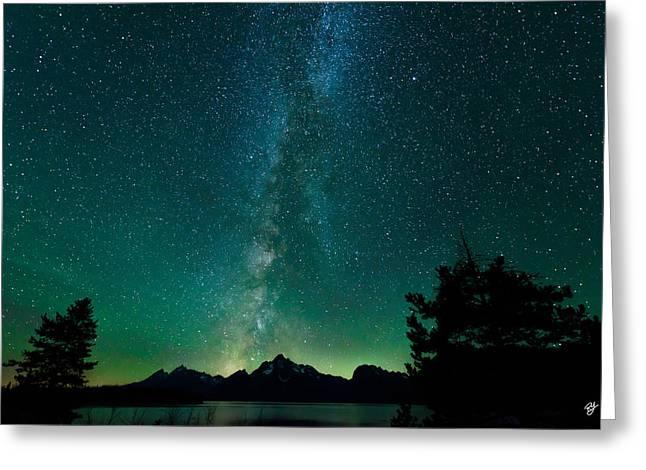 Grand Teton Stars Greeting Card by Robert Yone