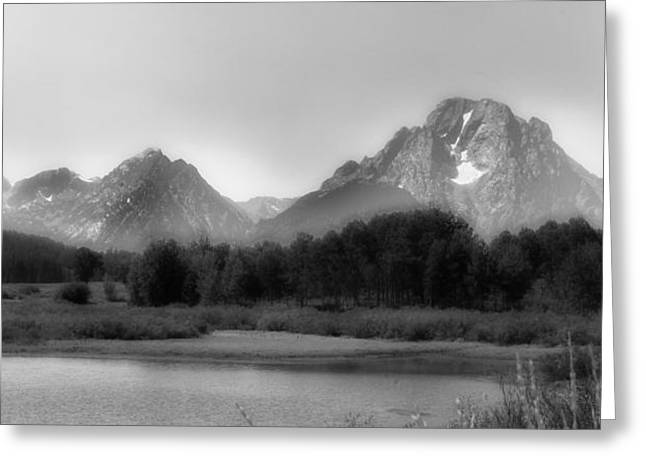 Greeting Card featuring the photograph Grand Tetons Bw by Ron White
