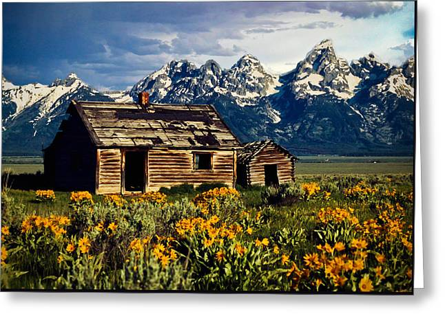 Greeting Card featuring the photograph Grand Tetons Cabin by John Haldane