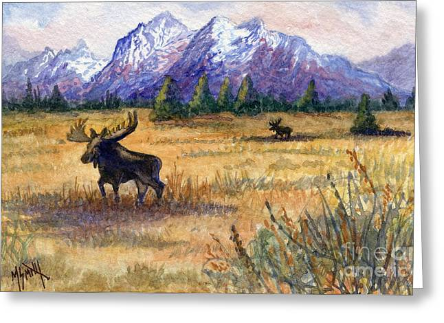 Grand Tetons Moose Greeting Card by Marilyn Smith