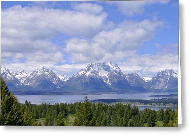 Grand Tetons Over Jackson Lake Panorama 2 Greeting Card by Brian Harig