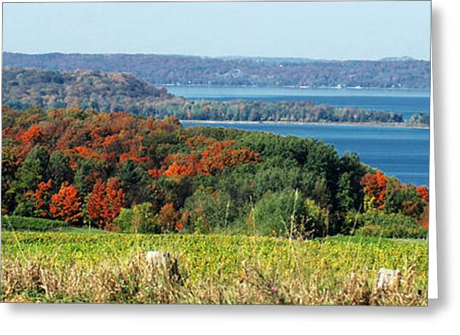 Grand Traverse Winery Lookout Greeting Card by Optical Playground By MP Ray