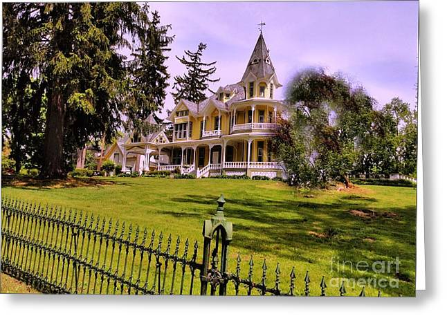 Greeting Card featuring the photograph Grand Yellow Victorian And Gate by Becky Lupe