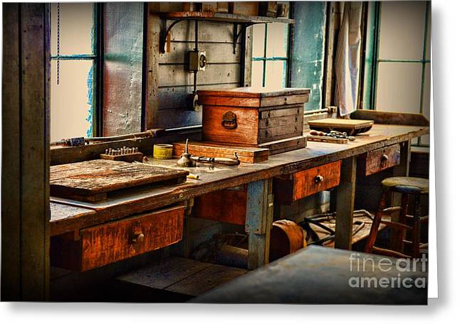 Granddad's Work Bench Greeting Card by Paul Ward