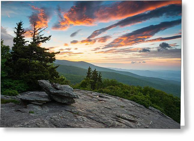 Grandfather Mountain Blue Ridge Parkway Nc Beacon Heights At Sunrise Greeting Card