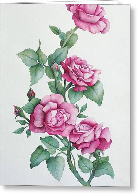 Greeting Card featuring the painting Grandma Helen's Roses by Katherine Young-Beck