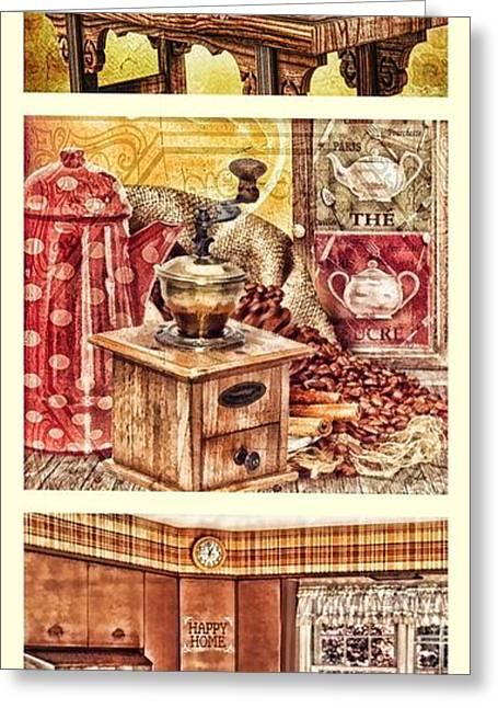 Grandma Kitchen Triptic Greeting Card by Mo T