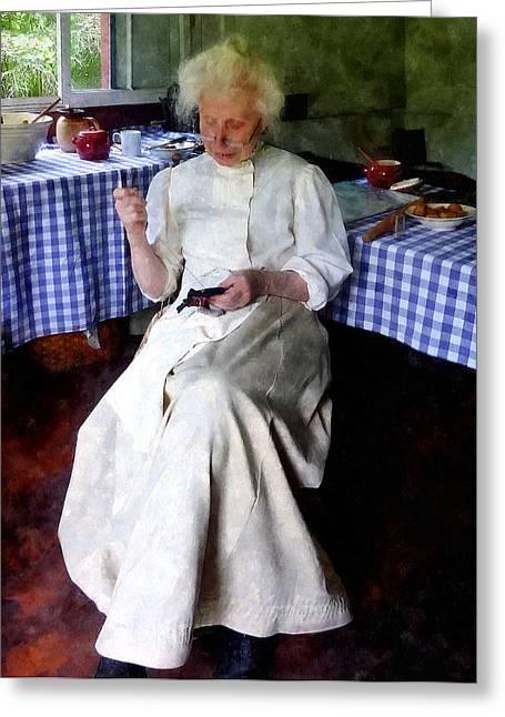 Grandma Sewing Greeting Card by Susan Savad