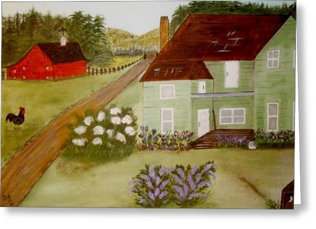Greeting Card featuring the painting Grandmas Farm by Cindy Micklos