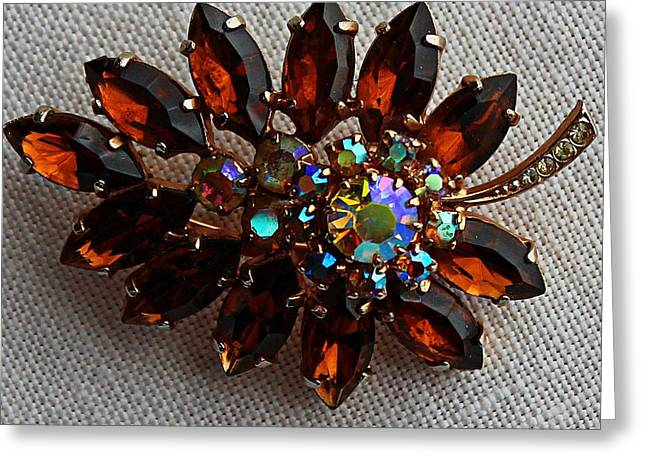 Grandmas Topaz Brooch - Treasured Heirloom Greeting Card by Barbara Griffin