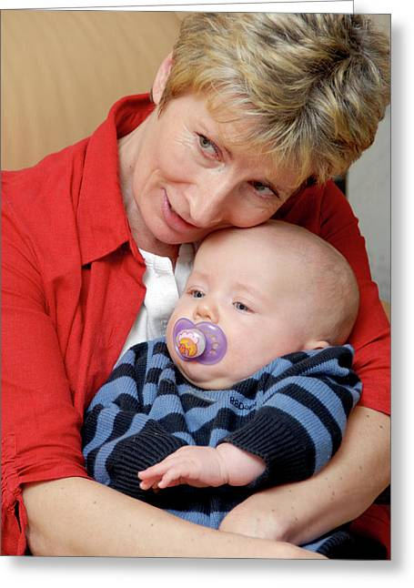 Grandmother And Baby Greeting Card by Aj Photo/science Photo Library