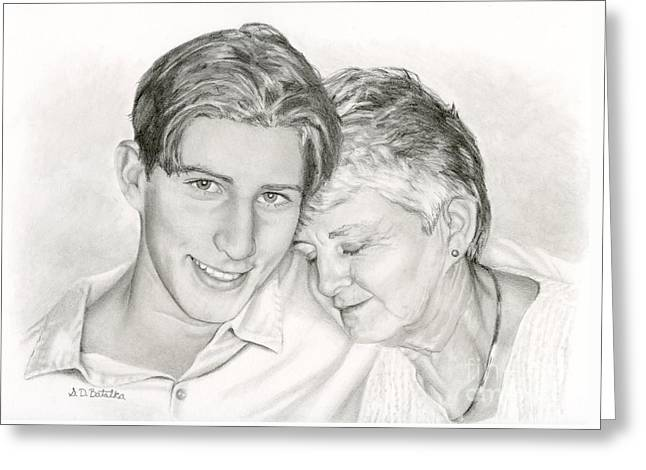 Grandmother And Grandson Greeting Card by Sarah Batalka