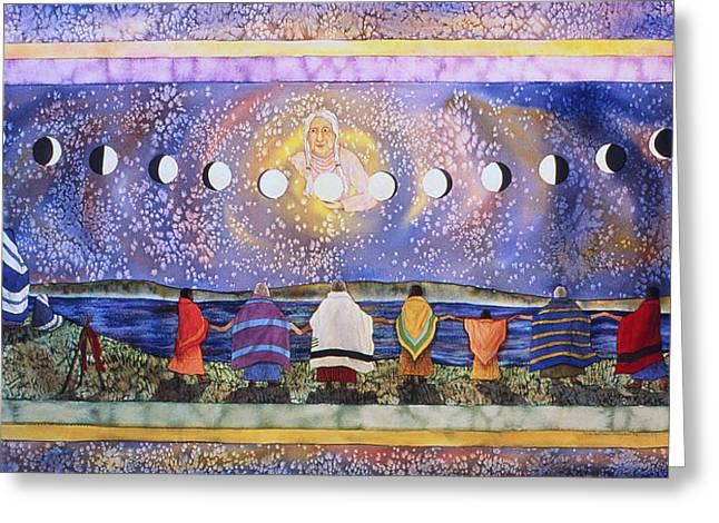 Grandmother Moon Greeting Card by Lynda Hoffman-Snodgrass