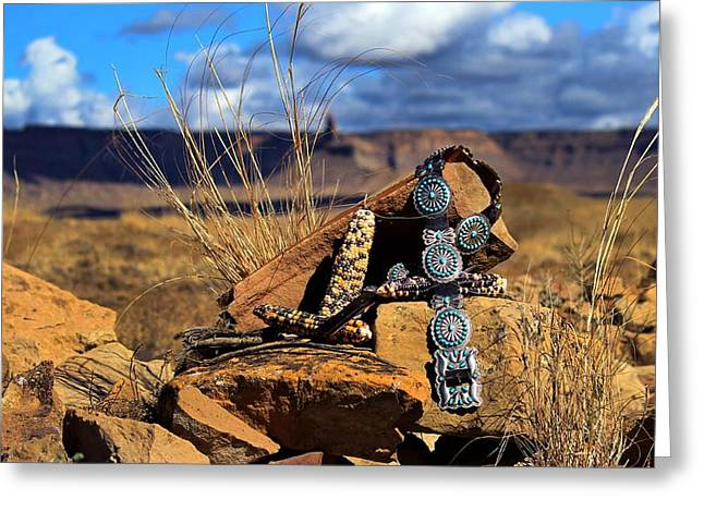 Grandmother's Belt Greeting Card by Chelsea Begay