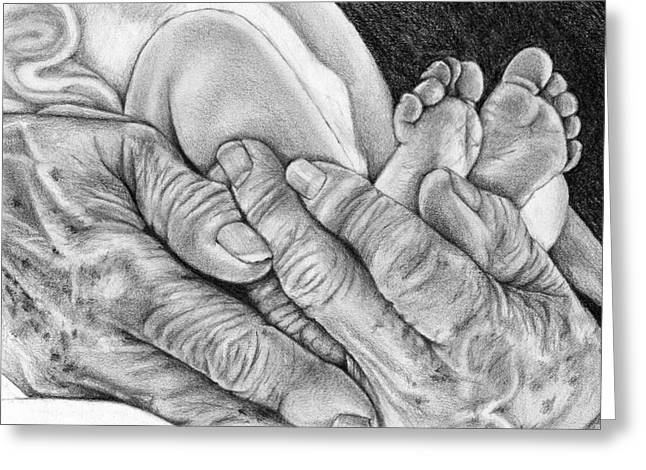 Greeting Card featuring the drawing Grandmother's Hands by Penny Collins