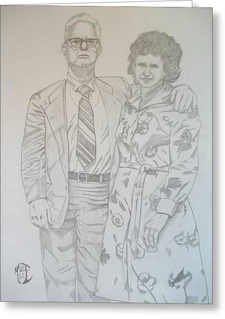 Greeting Card featuring the drawing Grandparents Of Late 1970s by Justin Moore