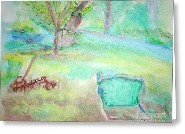 Grandpa's Backyard Greeting Card by Helena Bebirian