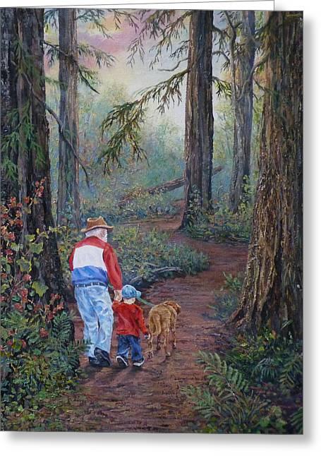 Grandpa's Pathway  Greeting Card by Gracia  Molloy