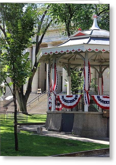Greeting Card featuring the photograph Grandstand Patriotism  by Natalie Ortiz