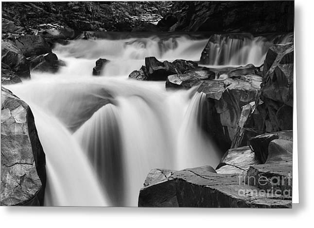 Granite Falls Black And White Greeting Card by Mark Kiver