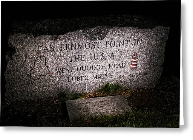 Granite Monument Quoddy Head State Park Greeting Card by Marty Saccone
