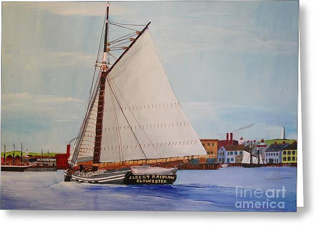Granite Sloop Albert Baldwin In Boston Harabor 1900 Greeting Card