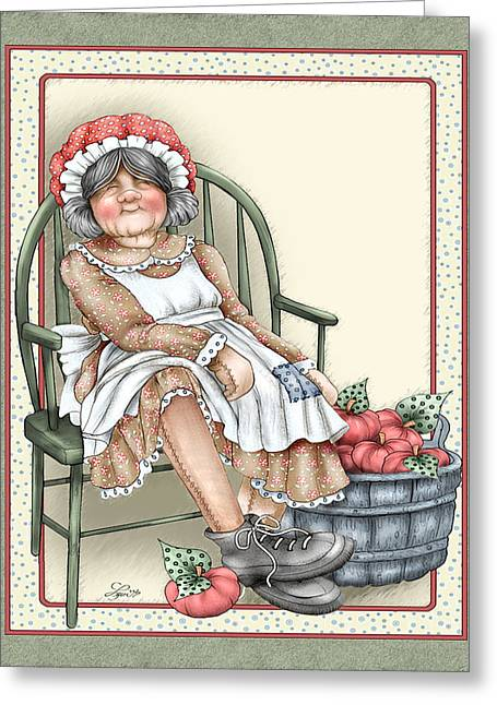 Granny Rag Greeting Card by Beverly Levi-Parker