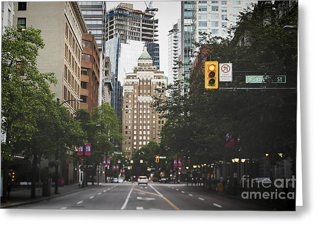 Granville Street Greeting Card by Ivy Ho