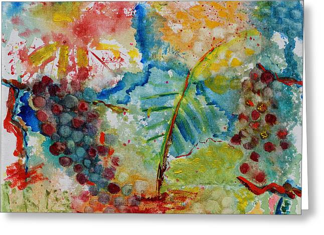 Greeting Card featuring the painting Grape Abstraction by Karen Fleschler