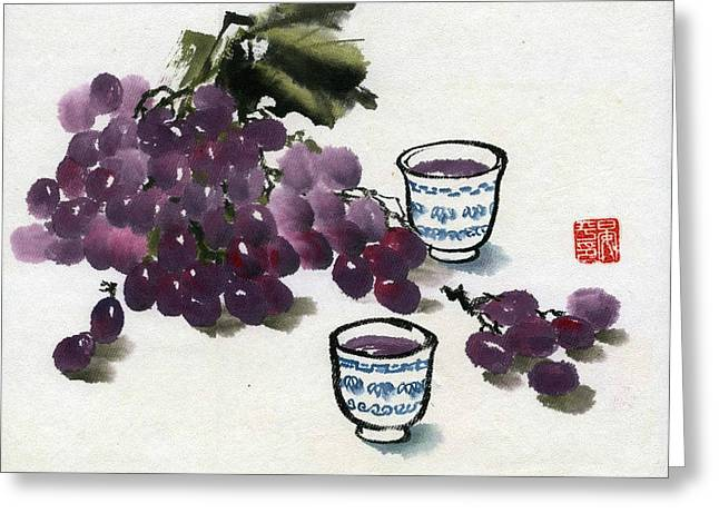 Greeting Card featuring the painting Grape And Wine by Ping Yan