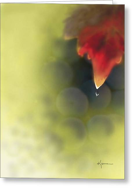Grape Leaf Water Drop Greeting Card by Kume Bryant