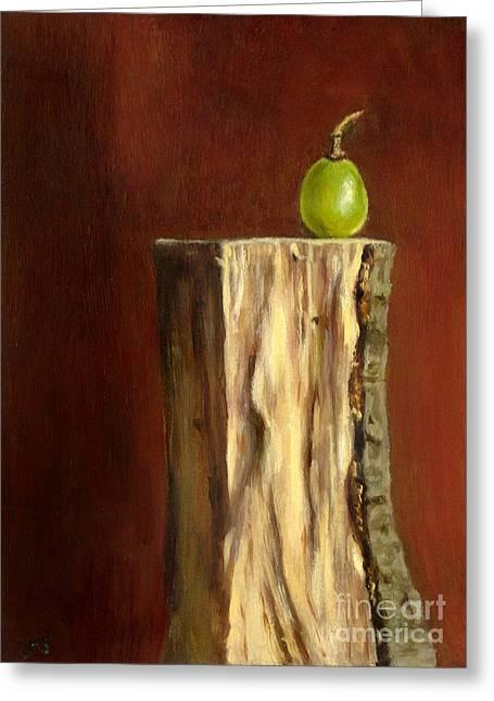 Grape On Wood Greeting Card by Ulrike Miesen-Schuermann