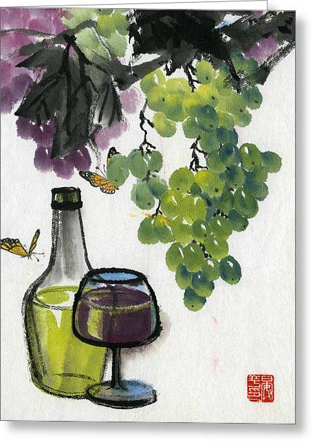 Greeting Card featuring the painting Grape by Ping Yan