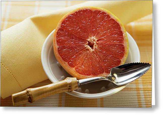 Grapefruit Half With Grapefruit Spoon In A Bowl Greeting Card