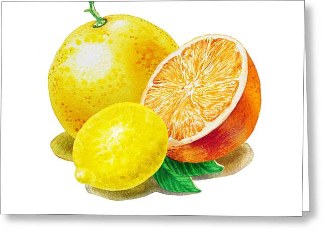 Greeting Card featuring the painting Grapefruit Lemon Orange by Irina Sztukowski