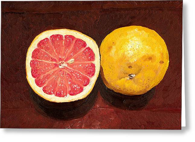 Grapefruits Oil Painting Greeting Card by