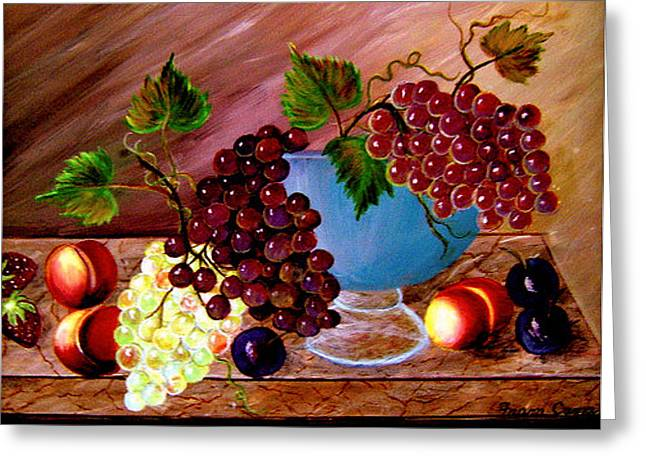 Greeting Card featuring the painting Grapefully Your's by Fram Cama