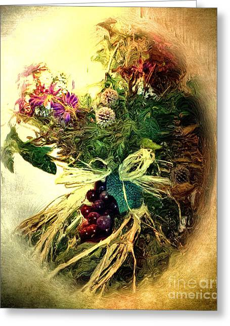 Grapes And All Greeting Card by Arne Hansen