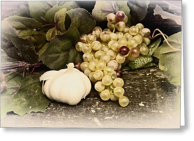 Grapes And Garlic Greeting Card by Bill Cannon